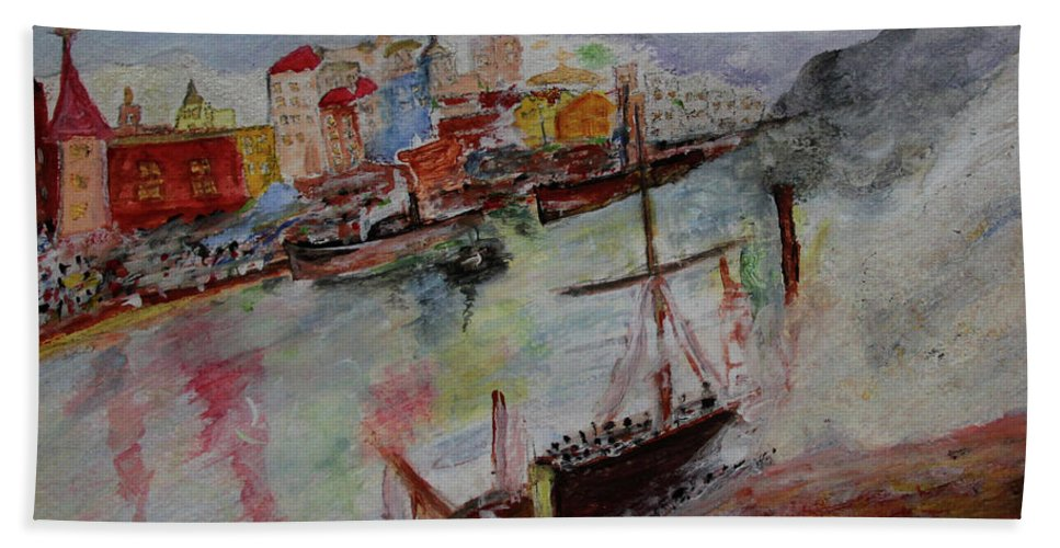 The City On Waters Beach Towel featuring the painting Journey On Waters by Jay Namdev