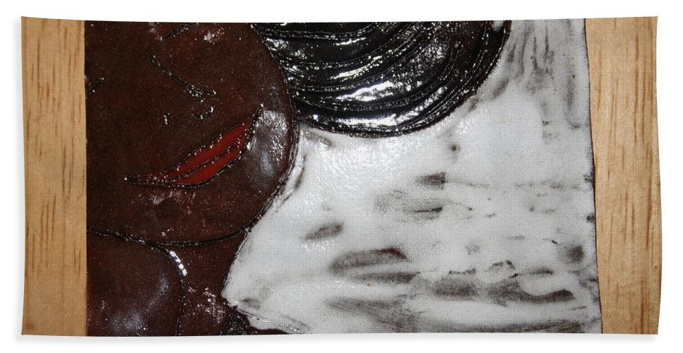 Jesus Beach Towel featuring the ceramic art Joy - Tile by Gloria Ssali