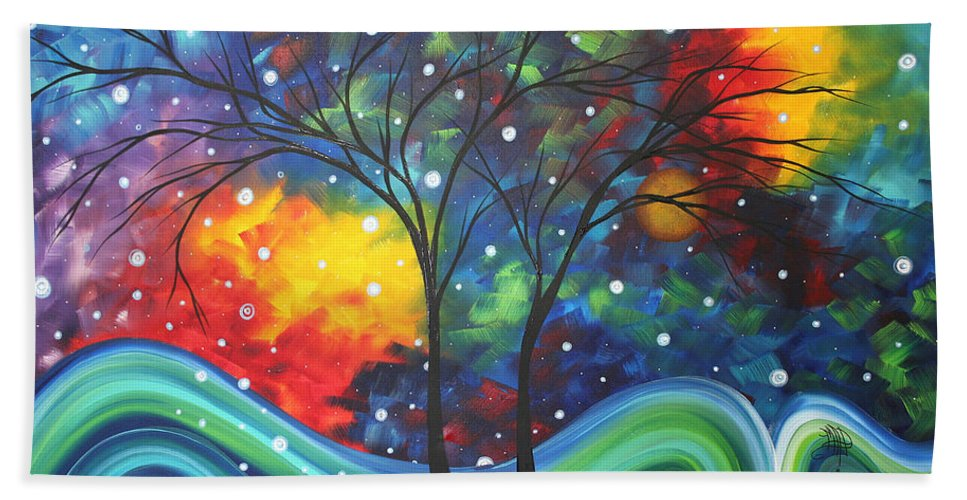 Abstract Beach Towel featuring the painting Joy By Madart by Megan Duncanson