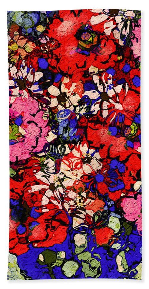 Floral Abstract Beach Sheet featuring the painting Joyful Flowers by Natalie Holland