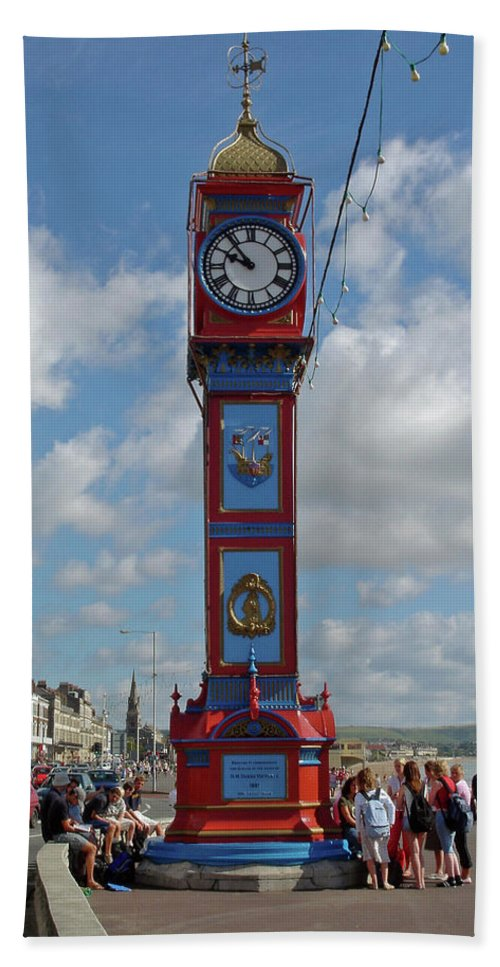 Seafront Beach Towel featuring the photograph Jubilee Clock - Weymouth by Rod Johnson