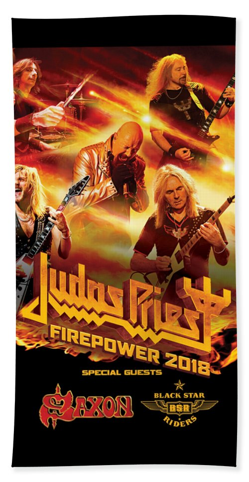 8777dc20a11 Judas Priest Beach Towel featuring the digital art Judas Priest Firepower  Tour 2018 by Ratnawati