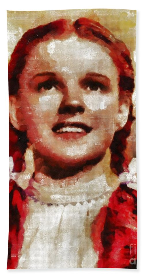 Hollywood Beach Towel featuring the painting Judy Garland, Vintage Actress By Mb by Mary Bassett