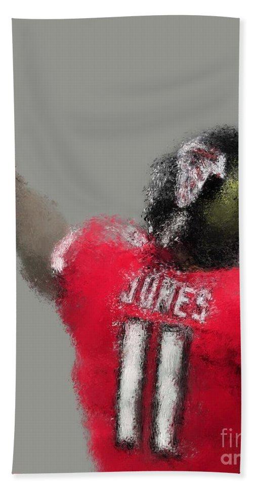 Julio Jones Beach Sheet featuring the painting Julio Jones by Jack Bunds