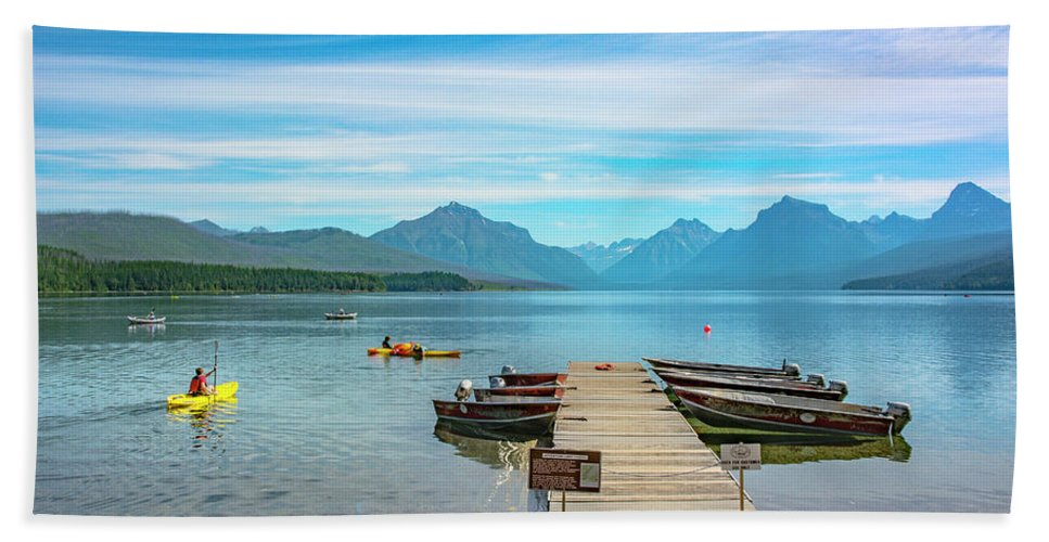 Montana Beach Towel featuring the photograph July 4th on Lake McDonald by Bryan Spellman
