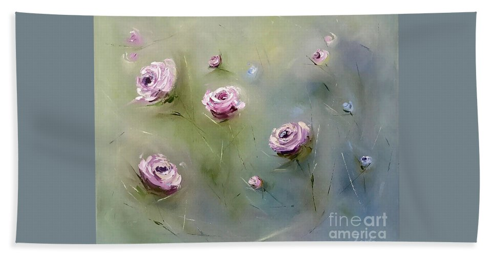 Roses Beach Towel featuring the painting July Roses by Lena Fetissova