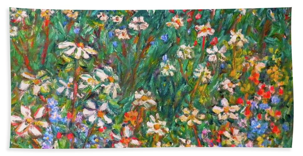 Kendall Kessler Beach Towel featuring the painting Jumbled up Wildflowers by Kendall Kessler