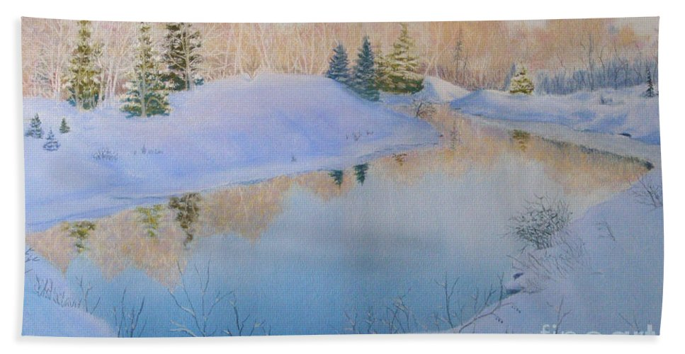 Landscape Beach Towel featuring the painting Junction Creek by Lynn Quinn