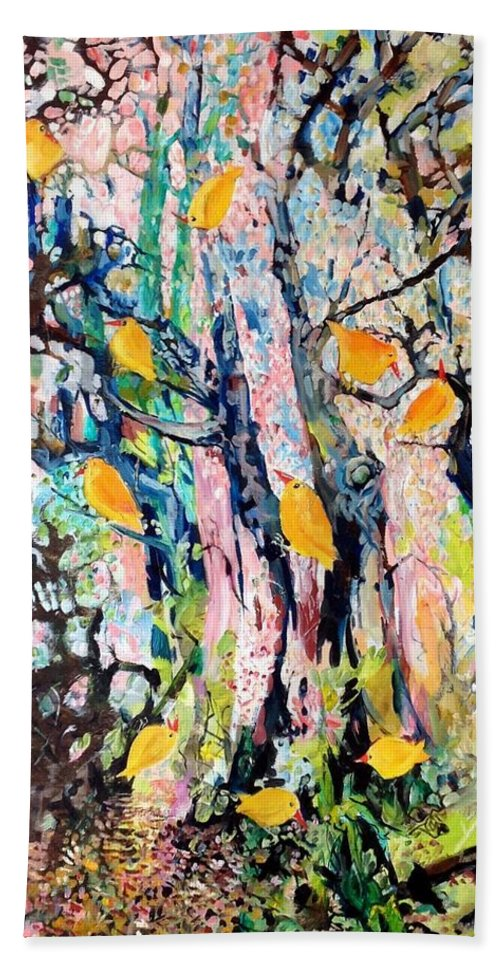 Trees Beach Towel featuring the painting June Twitter by Chris Walker