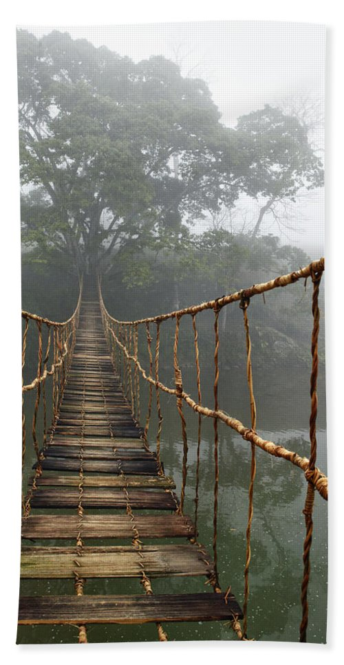 Rope Bridge Beach Towel featuring the photograph Jungle Journey 2 by Skip Nall