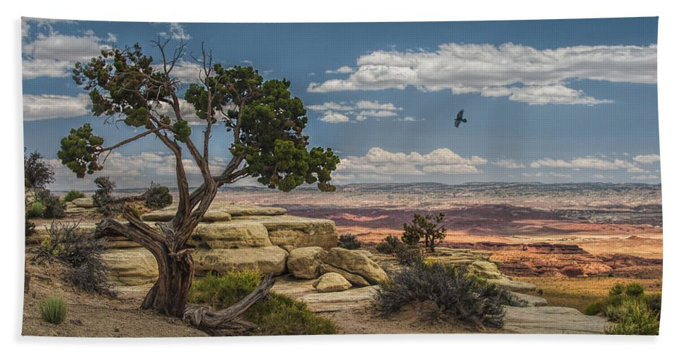 Mesa Beach Towel featuring the photograph Juniper Tree On A Mesa by Randall Nyhof