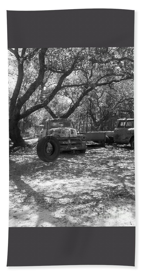 Black And White Beach Towel featuring the photograph Junk Yard Dog by Michelle Powell
