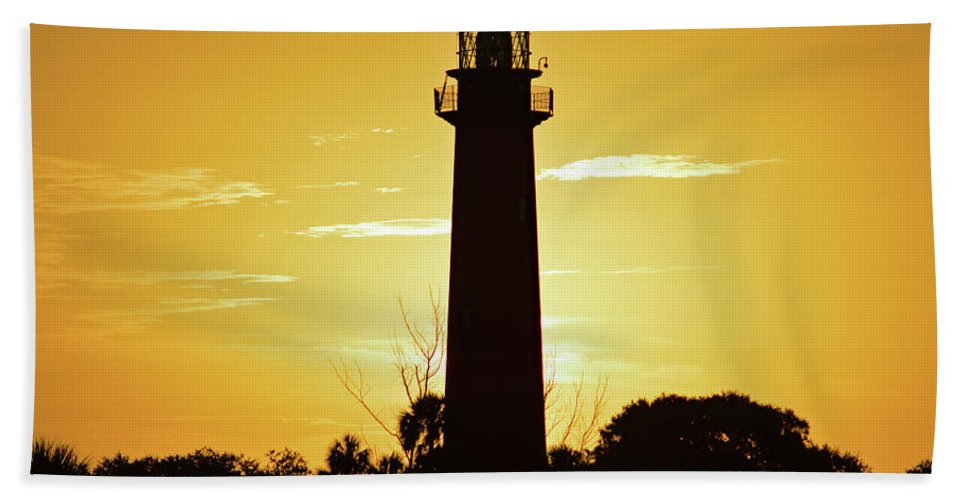 Delray Beach Towel featuring the photograph Jupiter Lighthouse Golden Sunrise by Ken Figurski