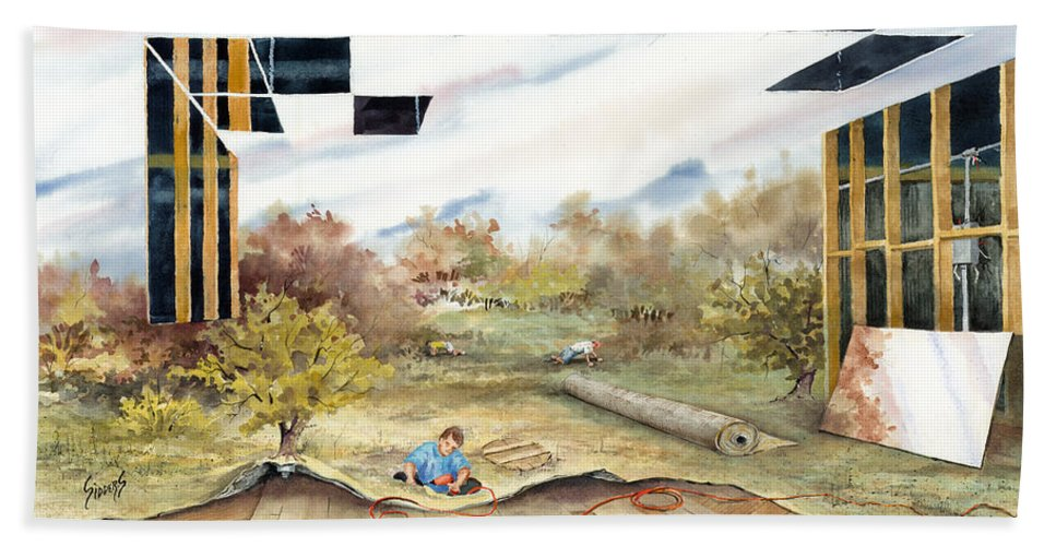Landscape Beach Towel featuring the painting Just Another Unfinished Landscape Painting by Sam Sidders