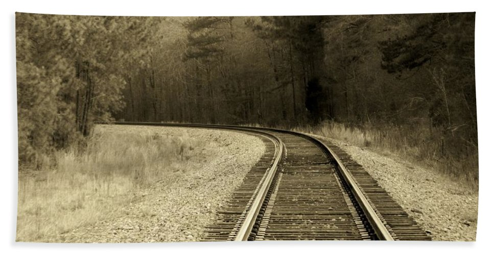 Railroad Beach Towel featuring the photograph Just Around The Bend by Betty Northcutt