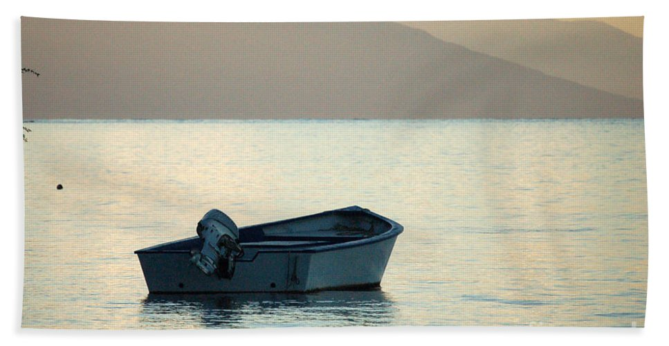 Boat Beach Towel featuring the photograph Just Off Molokai by Terry Holliday