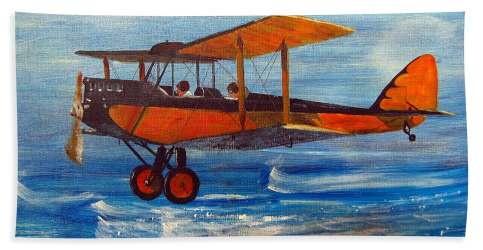 Biplane Beach Towel featuring the painting Just Off The Water by Richard Le Page