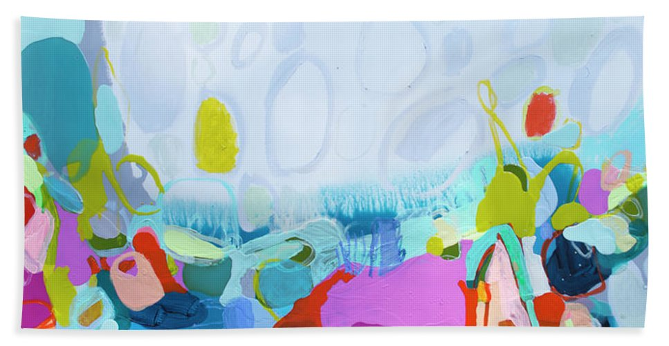 Abstract Beach Towel featuring the painting Just Sing by Claire Desjardins