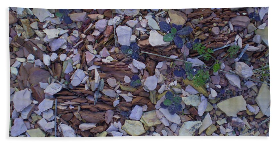 Stones Beach Towel featuring the mixed media Just Stones Painting by Karen Henninger