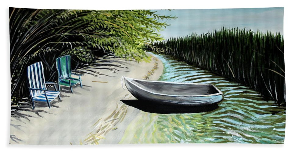 Boat Beach Towel featuring the painting Just You And I by Elizabeth Robinette Tyndall