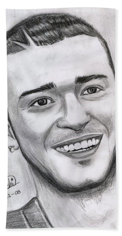 Justing Timberlake Beach Towel featuring the drawing Justing Timberlake Portrait by Alban Dizdari