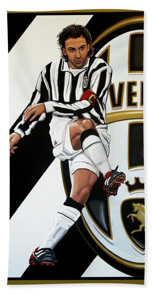 Juventus Beach Towel featuring the painting Juventus Fc Turin Painting by Paul Meijering