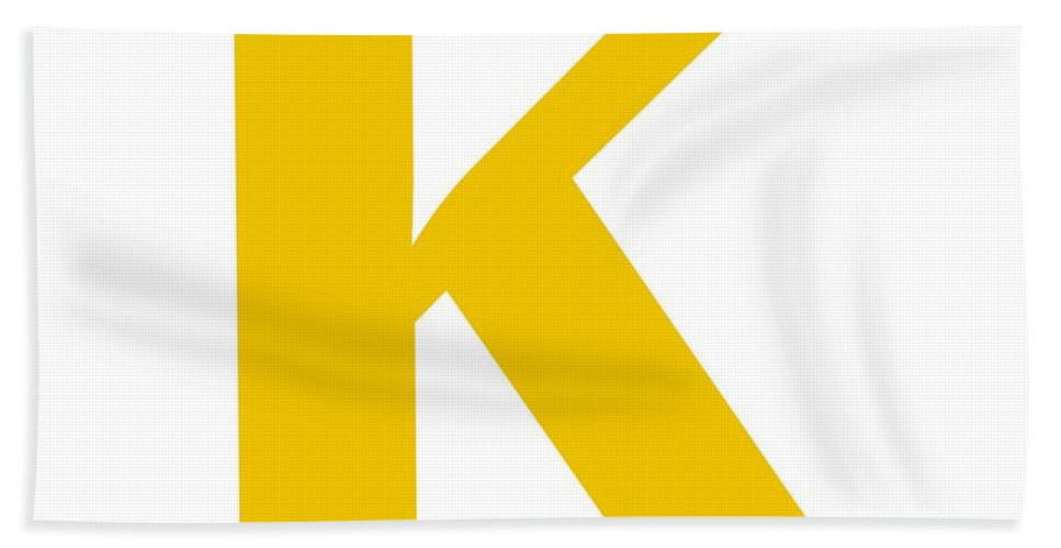 K Beach Towel featuring the digital art K In Mustard Typewriter Style by Custom Home Fashions