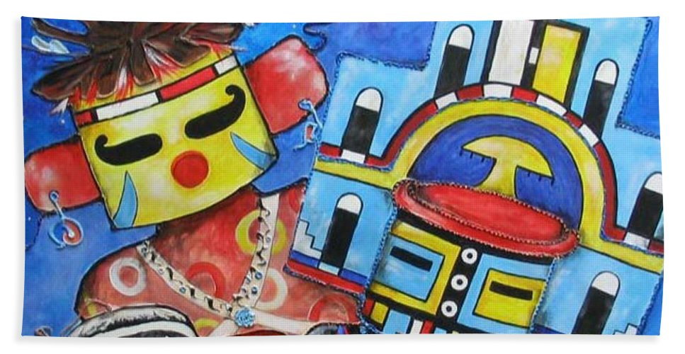 Native Beach Sheet featuring the painting Kachina Knights by Elaine Booth-Kallweit