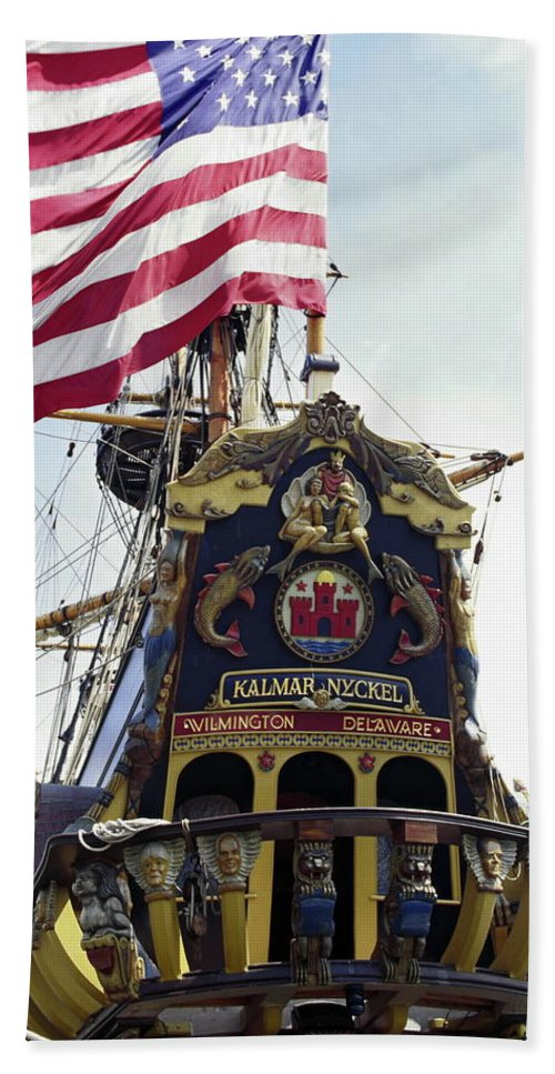Ornate Carved Wood Stern Beach Towel featuring the photograph Kalmar Nyckel Tall Ship by Sally Weigand