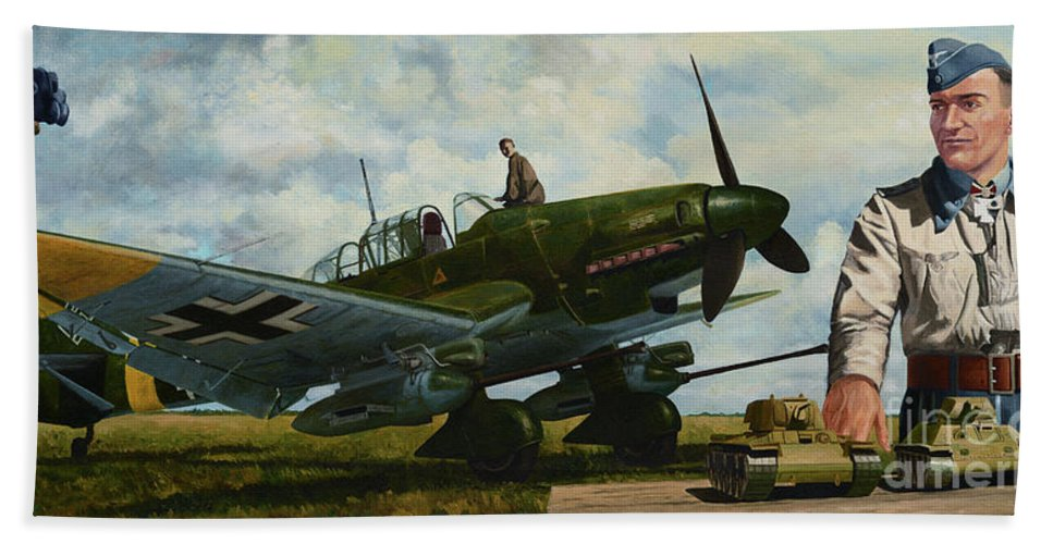 Luftwaffe Beach Towel featuring the painting Kamerad Hans - Ulrich by Oleg Konin