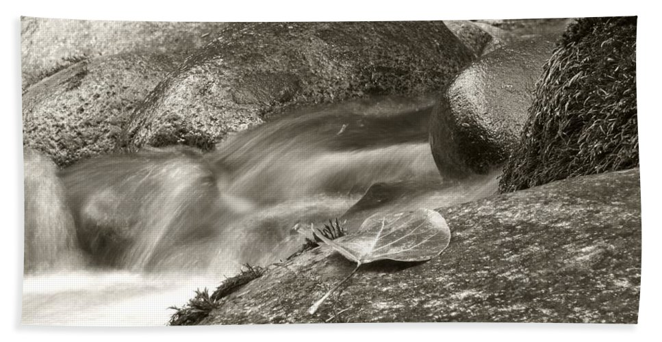 Black And White Beach Towel featuring the photograph Kanaka Creek Bw by Sharon Talson