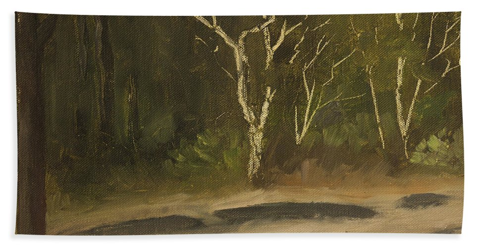 Landscape Beach Towel featuring the painting Kanha Forest Trail by Mandar Marathe
