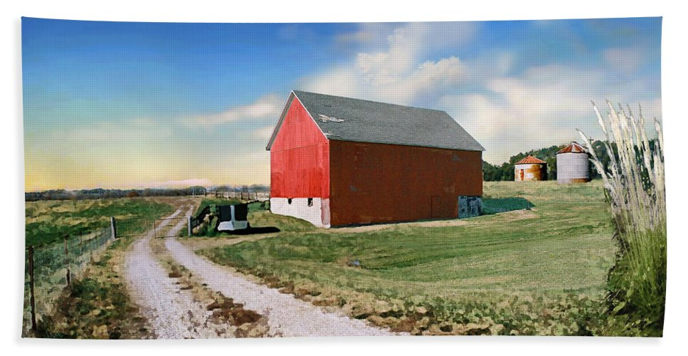 Barn Beach Towel featuring the painting Kansas Landscape II by Steve Karol