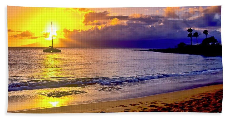 Scenics Beach Sheet featuring the photograph Kapalua Bay Sunset by Jim Cazel