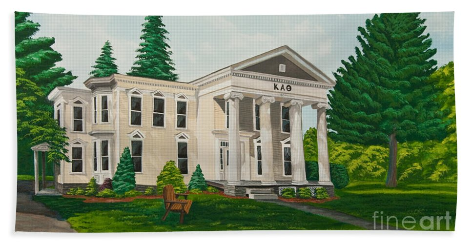 Colgate University History Beach Towel featuring the painting Kappa Alpha Theta by Charlotte Blanchard