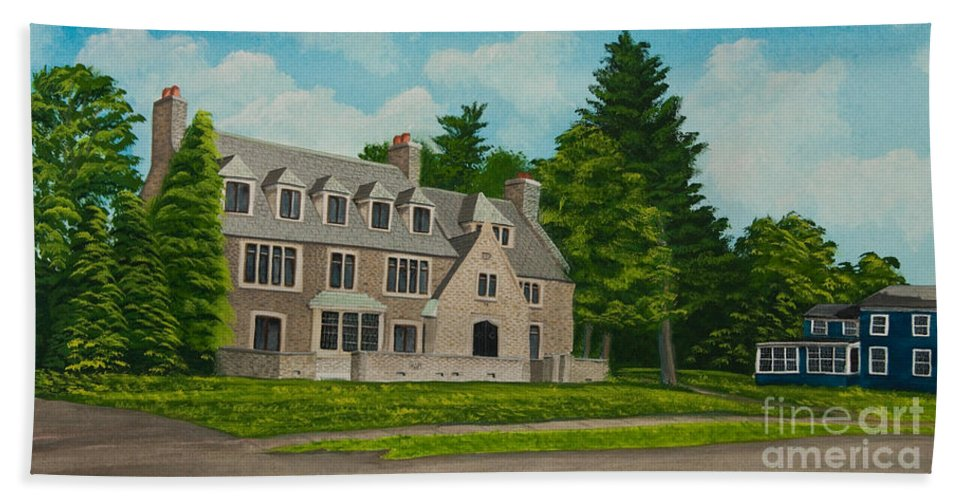 Kappa Delta Rho Frat House Beach Towel featuring the painting Kappa Delta Rho North View by Charlotte Blanchard