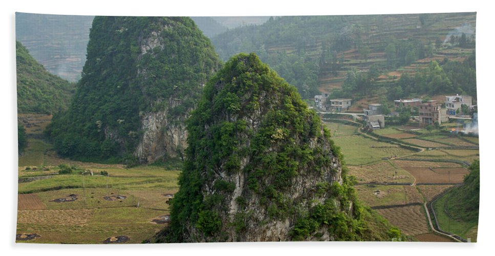 Guangxi Beach Towel featuring the photograph Karst Landscape, Guangxi China by Dant� Fenolio