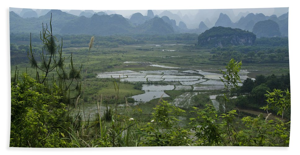 Asia Beach Towel featuring the photograph Karst Landscape of Guangxi by Michele Burgess