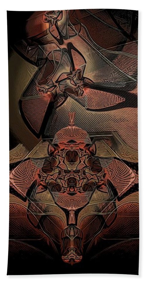 Abstract Beach Towel featuring the digital art Karuta by Ron Bissett