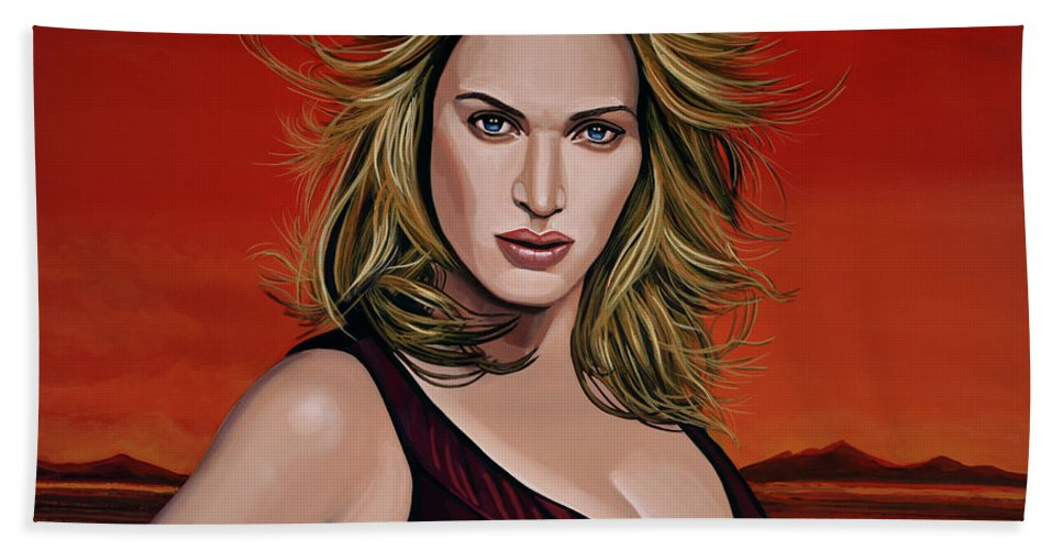 Kate Winslet Beach Towel featuring the painting Kate Winslet by Paul Meijering