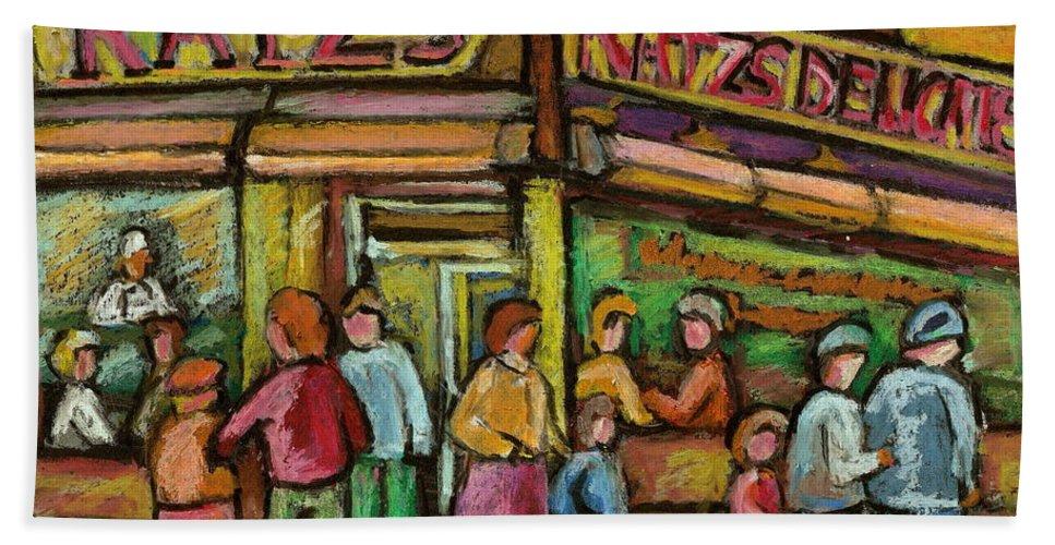 Katzs Delicatessen Beach Towel featuring the painting Katzs Delicatessan New York by Carole Spandau