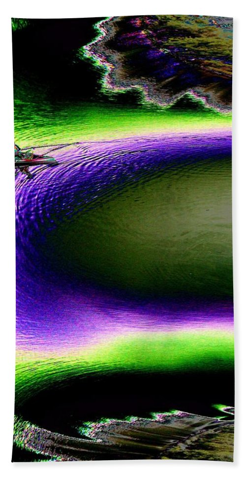 Seattle Beach Sheet featuring the digital art Kayak In The Cut by Tim Allen