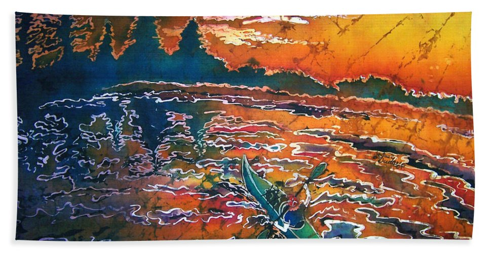 Kayak Beach Sheet featuring the painting Kayak Serenity by Sue Duda