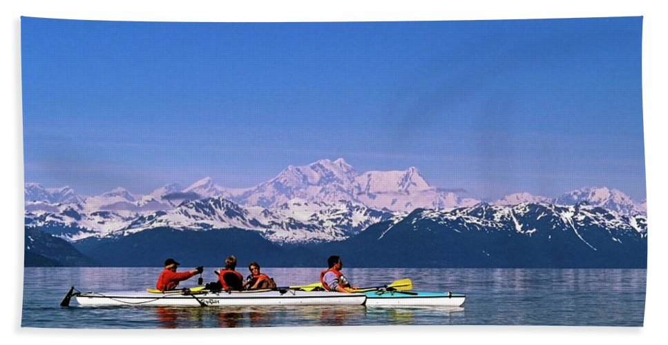Kayaks Beach Towel featuring the photograph Kayakers In Alaska by Sally Weigand