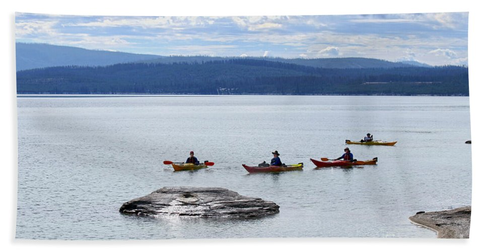 Yellowstone Lake Beach Towel featuring the photograph Kayakers Paddle To Fishing Cone On Yellowstone Lake by Catherine Sherman