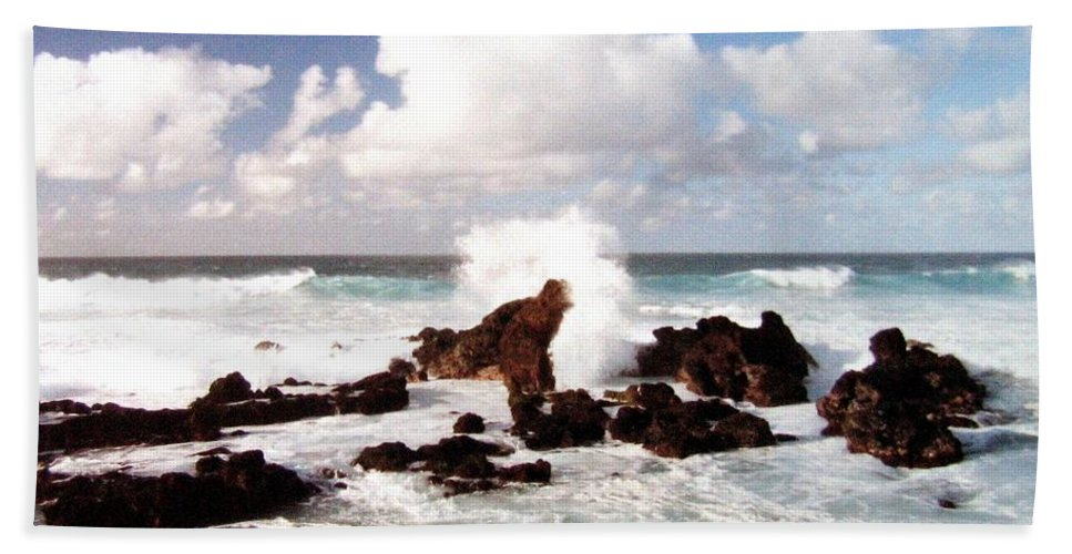 1986 Beach Towel featuring the photograph Keanae Peninsula by Will Borden