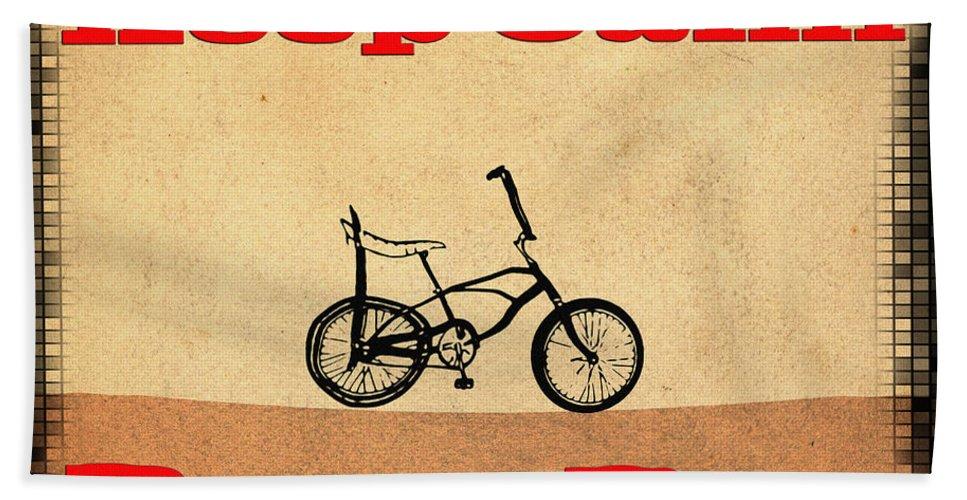 Keep Calm Beach Towel featuring the digital art Keep Calm Ride A Bike by Bill Cannon