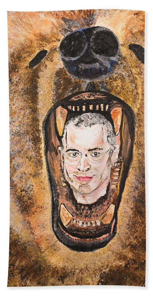 Mikhail Khodorkovsky Beach Towel featuring the painting Keep Smiling by Valerie Ornstein
