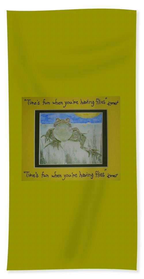 Kermit Beach Towel featuring the painting Kermit Sez by Georgia Donovan