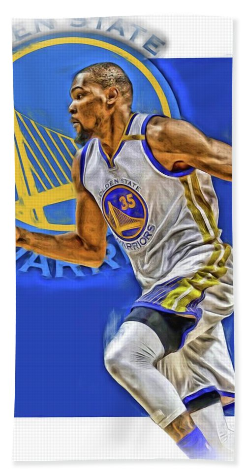 Kevin Durant Beach Towel featuring the mixed media Kevin Durant Golden State Warriors Oil Art by Joe Hamilton